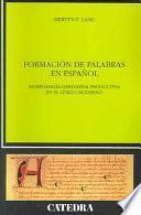 libro Formación De Palabras En Español