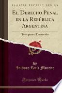 libro El Derecho Penal En La República Argentina