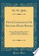 libro Fifth Catalogue Of Second Hand Books