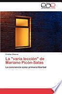 libro La Varia Lección De Mariano Picón Salas