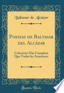 libro Poesias De Baltasar Del Alcázar